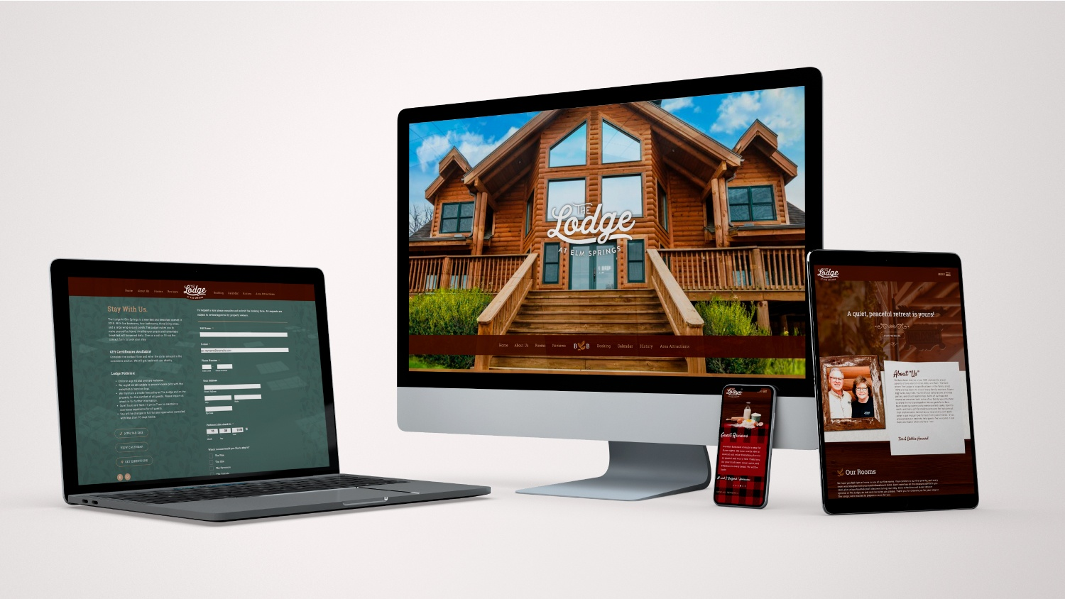 Lodge at Elm Springs website mockup