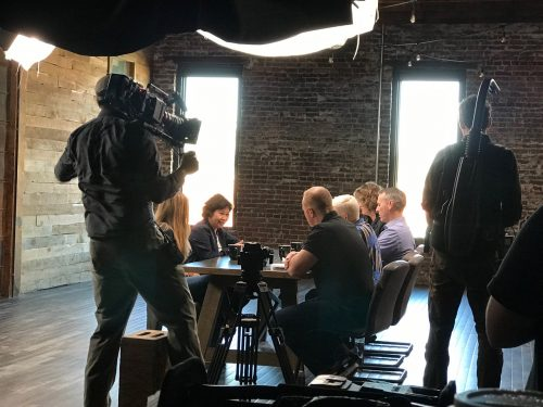Deluxe filming inside Think Idea Studio